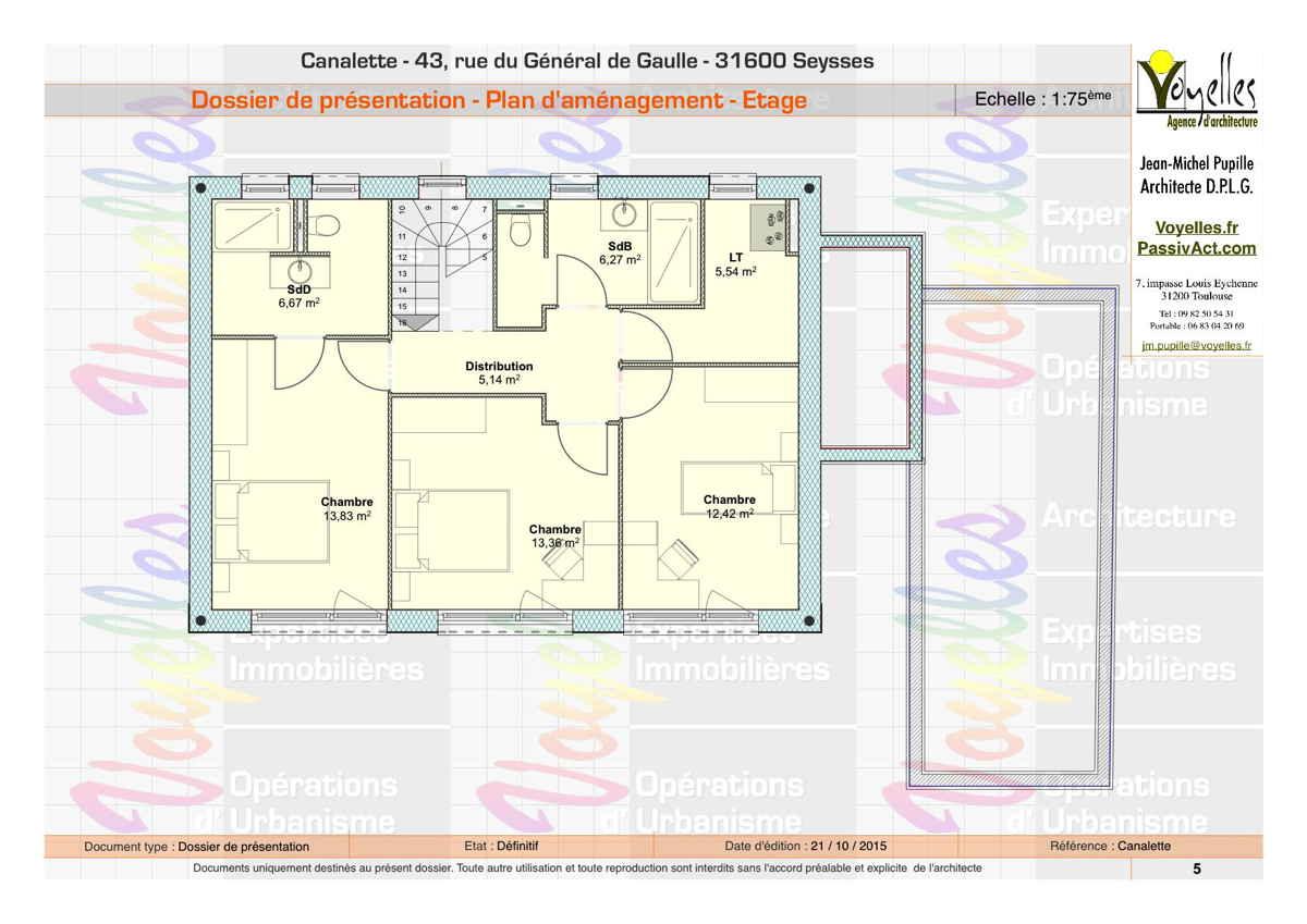Maison passive Canalette, plan de l'étage