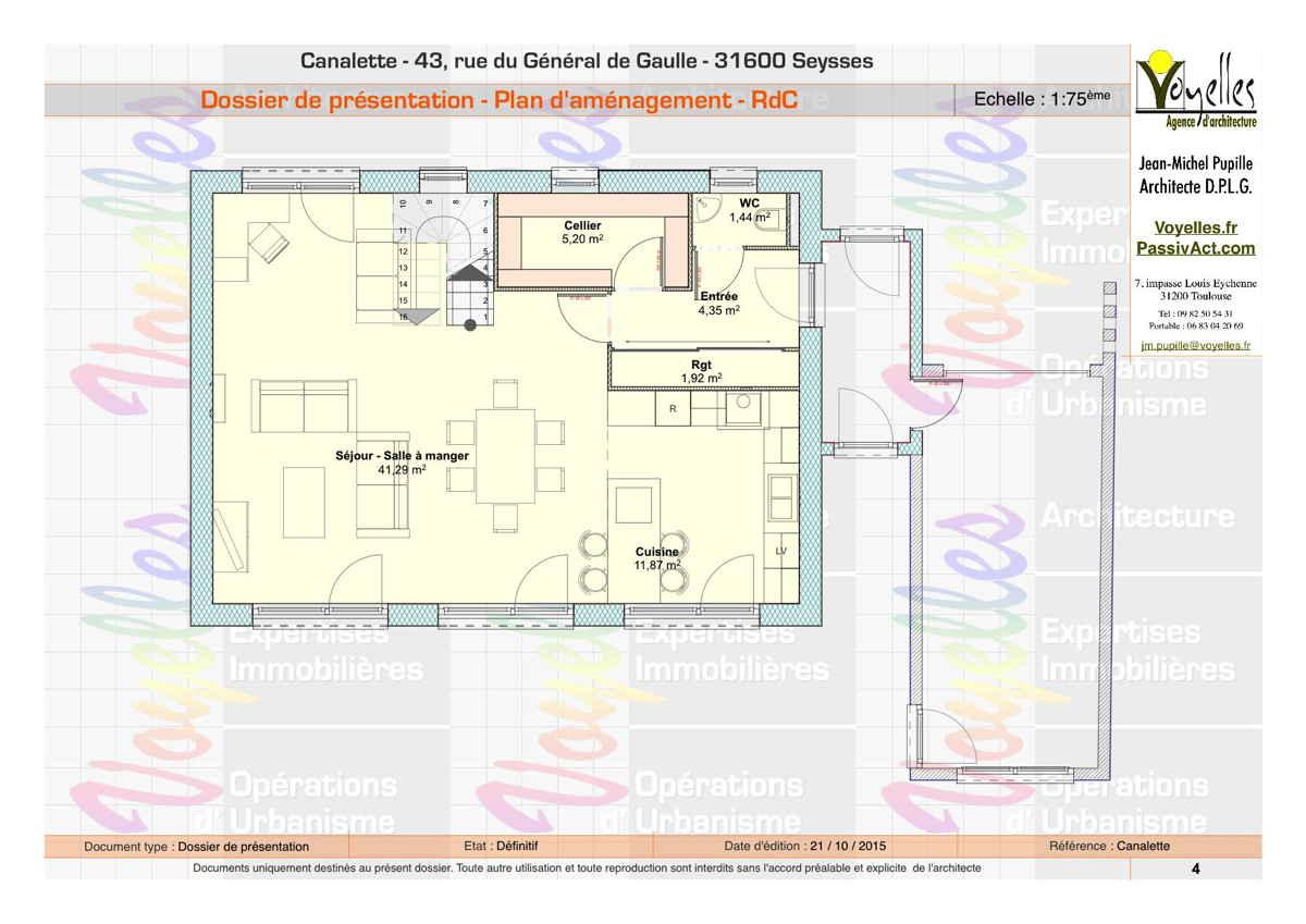 Maison passive Canalette, plan du RdC