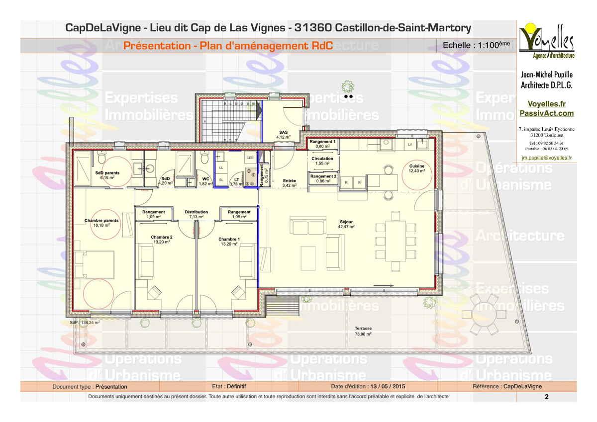 Maison passive CapDeLaVigne, plan du rez-de-chaussée