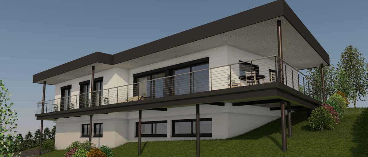 Maison passive CapDeLaVigne, vue 3D sud-est