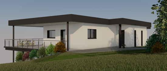 Maison passive CapDeLaVigne, vue 3D nord-est