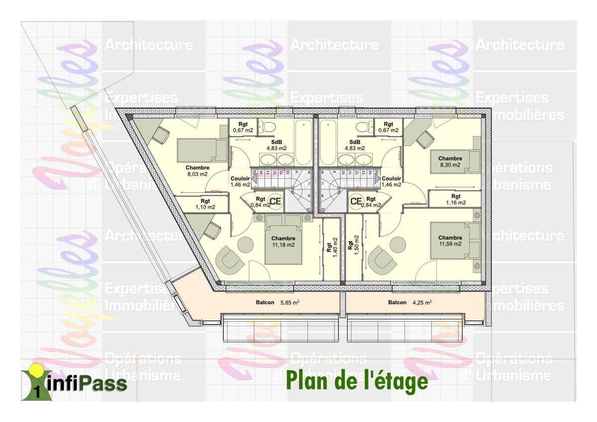 Maison passive InfiPass1, plan de l'étage
