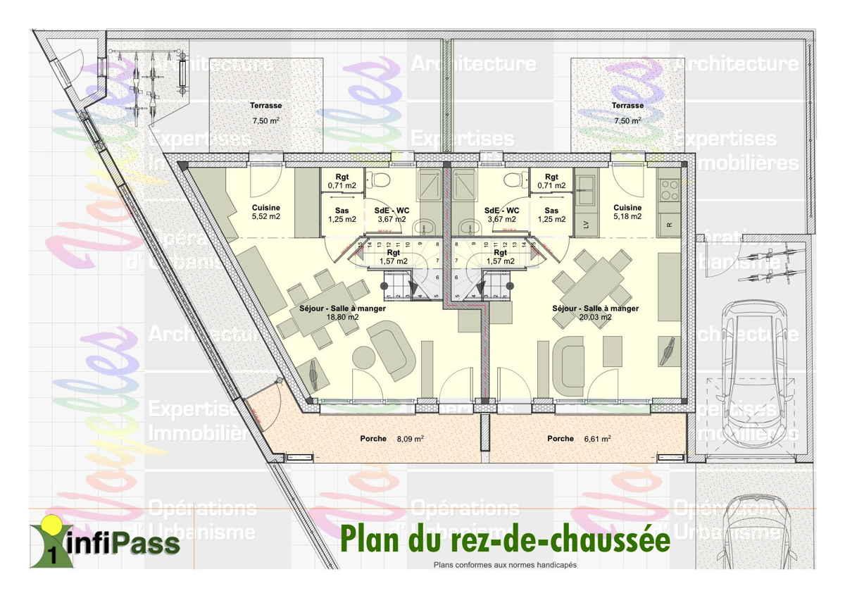 Maison passive InfiPass1, plan du Rez-de-Chaussée
