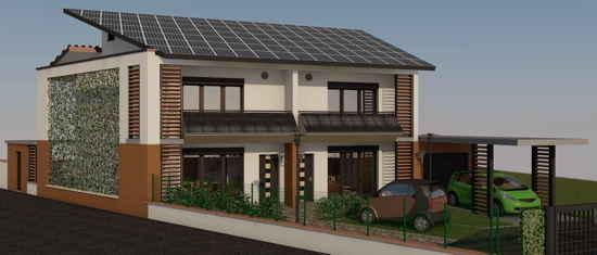 InfiPass1, vue 3D du projet de maison passive