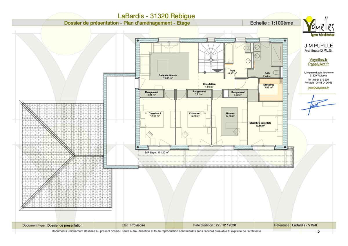 Maison passive LaBardis, plan de l'étage