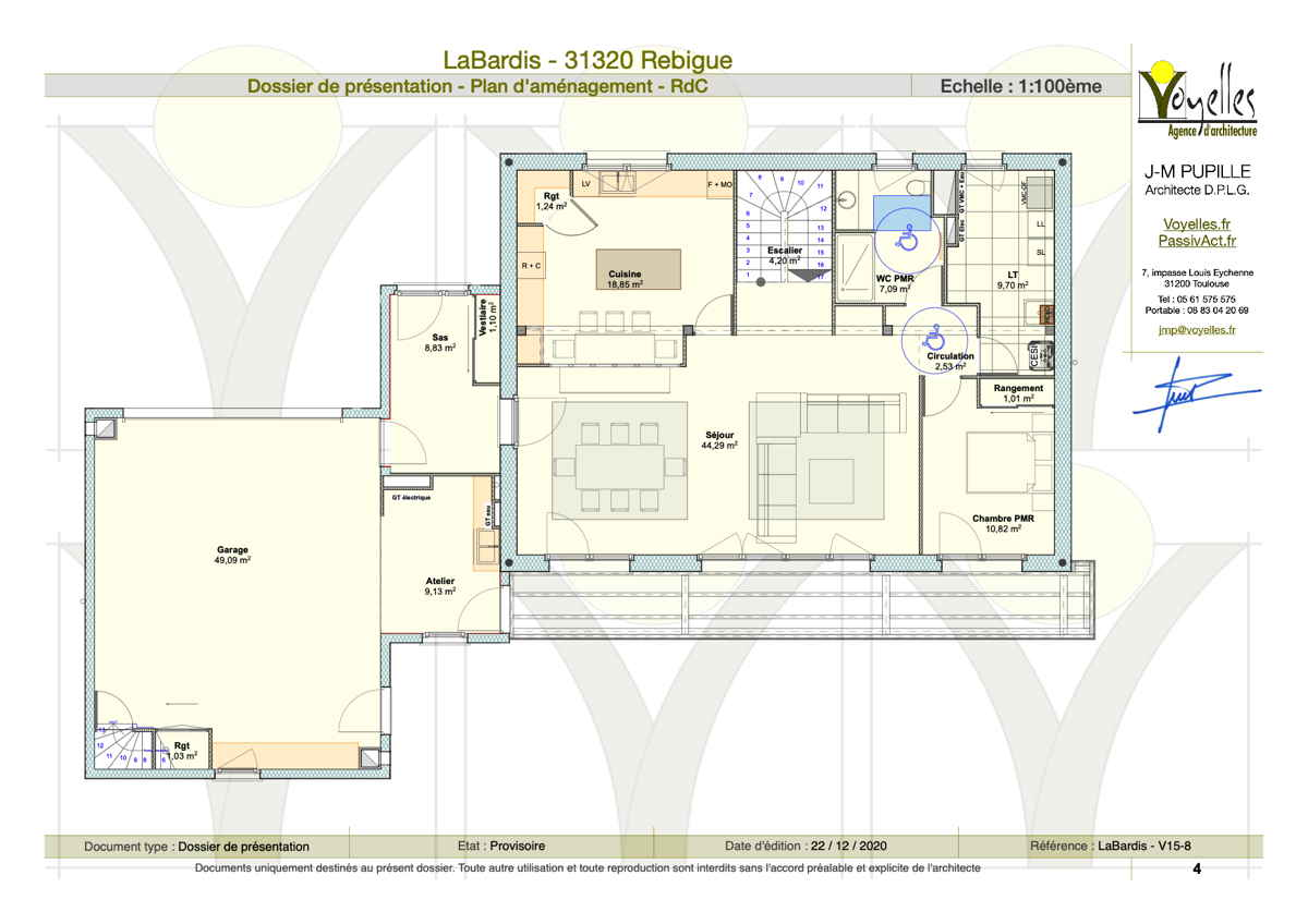 Maison passive LaBardis, plan du rez-de-chaussée