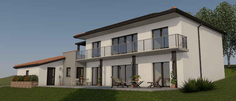 Maison passive LaBardis, vue 3D sud-est
