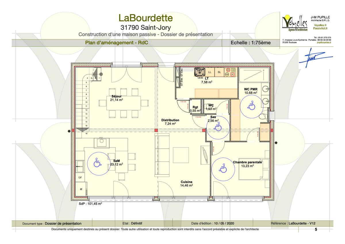 Maison passive LaBourdette, plan de l'étage