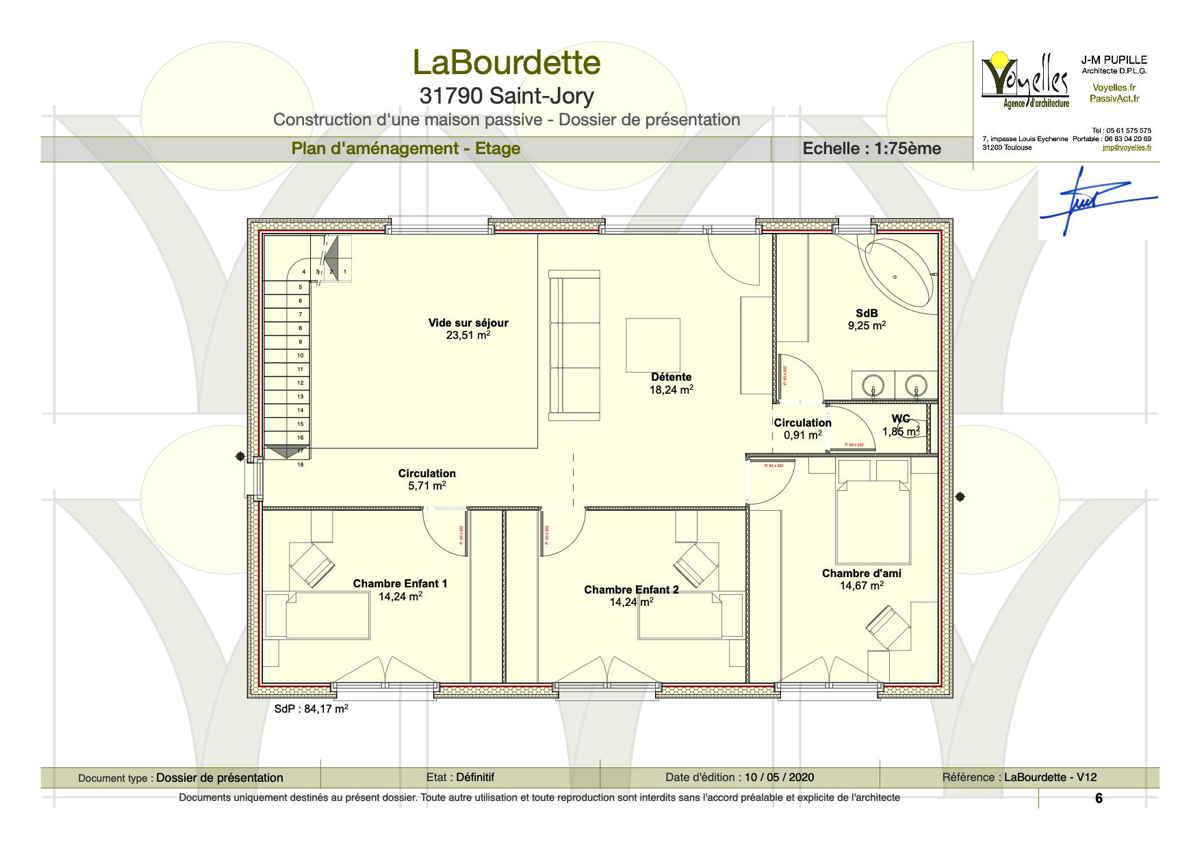 Maison passive LaBourdette, plan du Rez-de-Chaussée