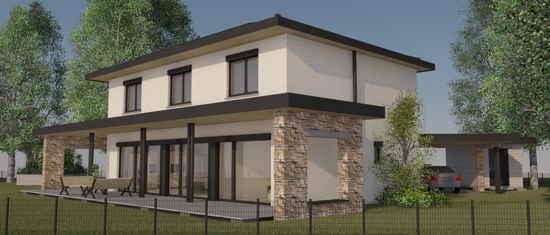 LaBourdette, vue 3D du projet de maison passive
