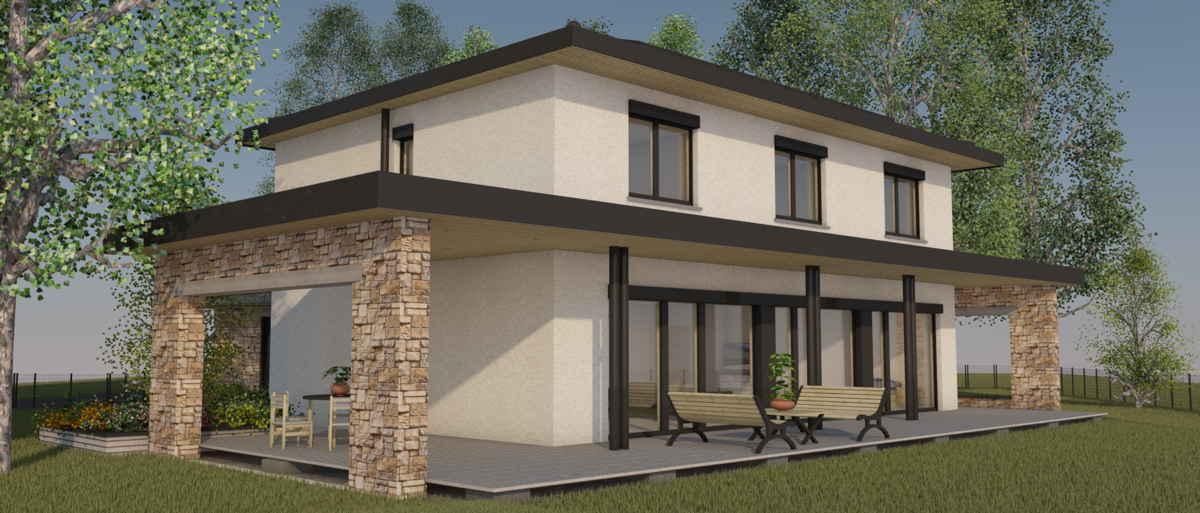 Maison passive LaBourdette, vue 3D sud-ouest