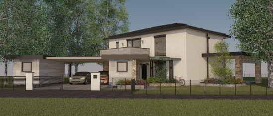 Maison passive LaBourdette, vue 3D nord-ouest