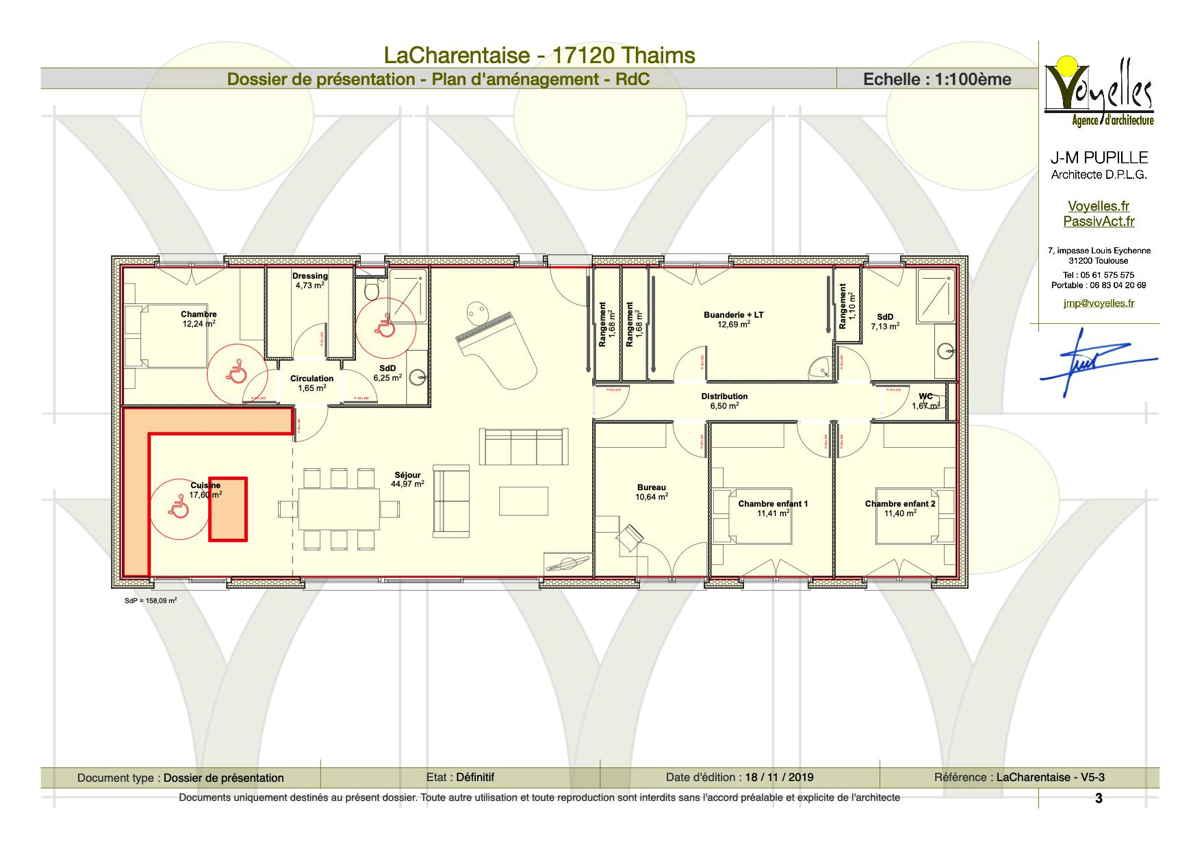 Maison passive LaCharentaise, plan du rez-de-chaussée