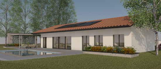 LaCharentaise, vue 3D du projet de maison passive