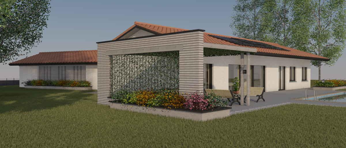Maison passive LaCharentaise, vue 3D sud-ouest
