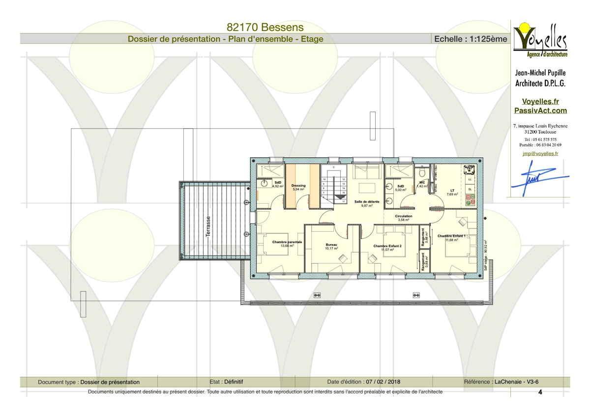 Maison passive LaChenaie, plan de l'étage