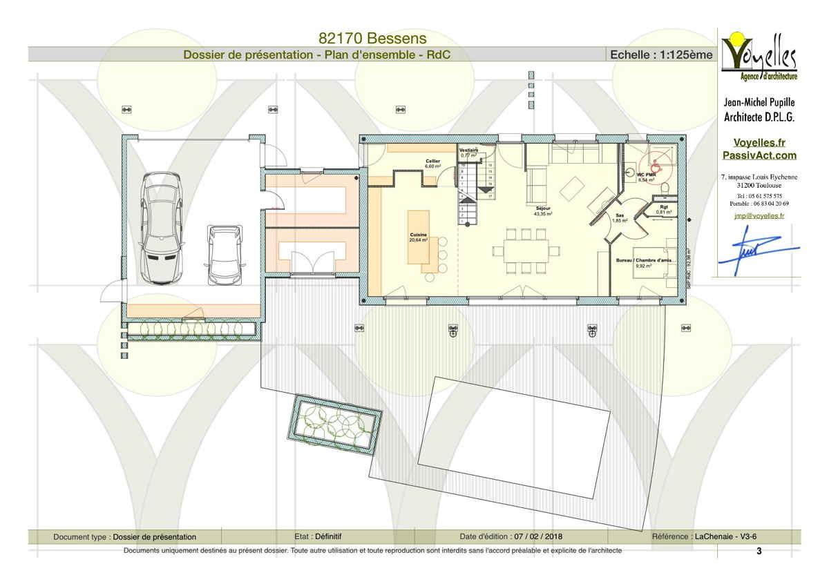 Maison passive LaChenaie, plan du rez-de-chaussée