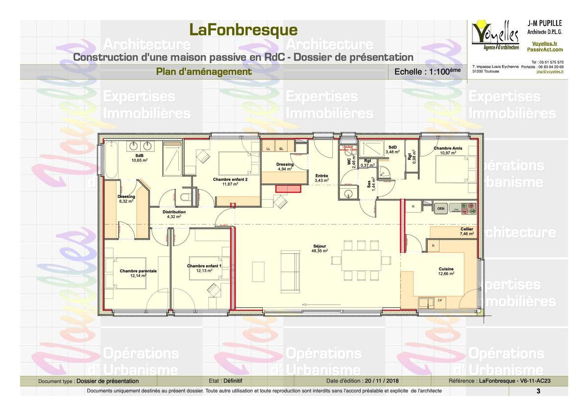 Maison passive LaFonbresque, plan du Rez-de-Chaussée