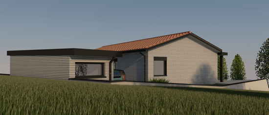 Maison passive LaFonbresque, vue 3D nord-est