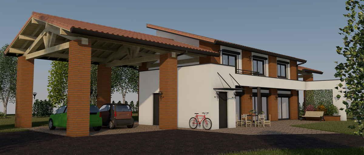 Maison passive LaLauragaise, vue 3D sud-ouest