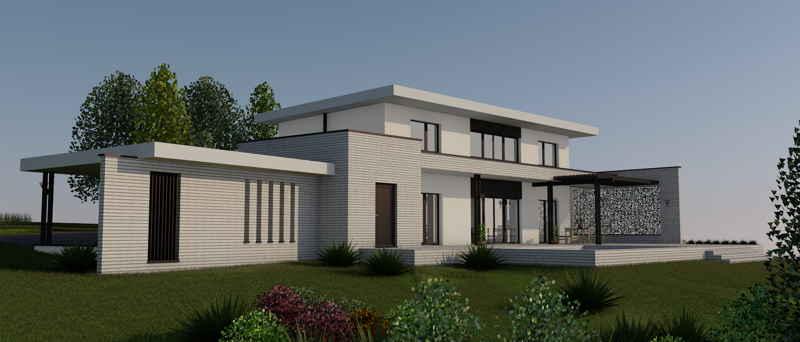 Maison passive LaMalizarde, vue 3D de jour du projet