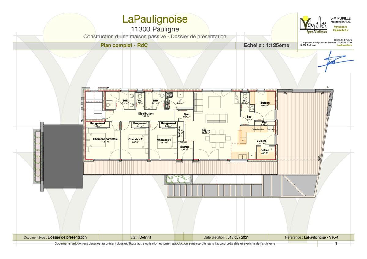 Maison passive LaPaulignoise, plan du rez-de-chaussée