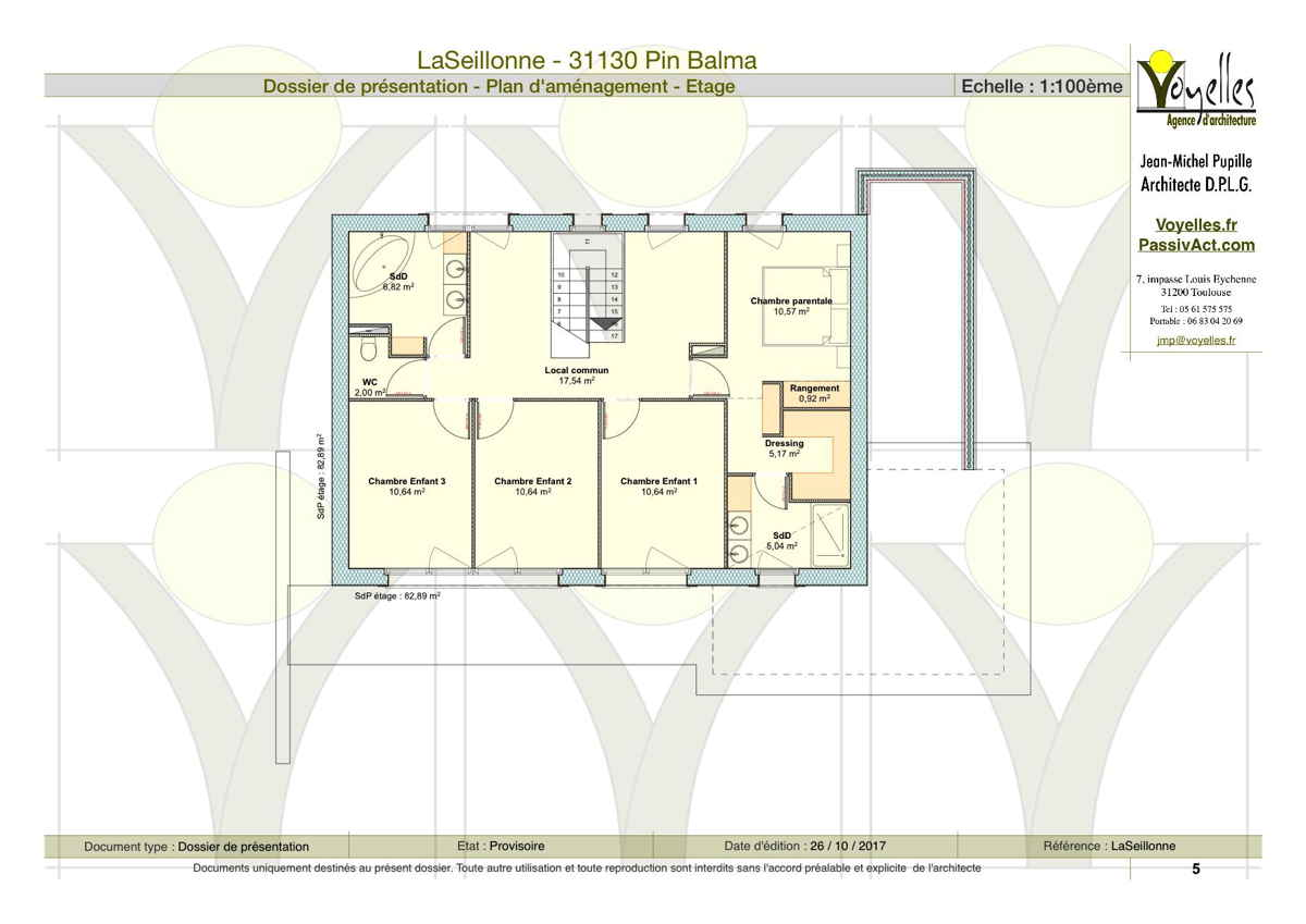 Maison passive LaSeillonne, plan de l'étage