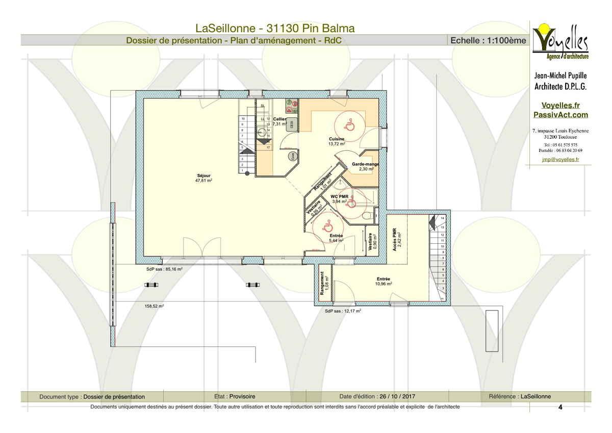Maison passive LaSeillonne, plan du Rez-de-Chaussée