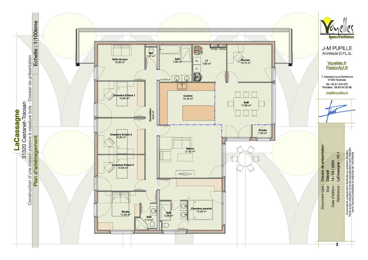 Maison passive Lacassagne, plan du Rez-de-Chaussée