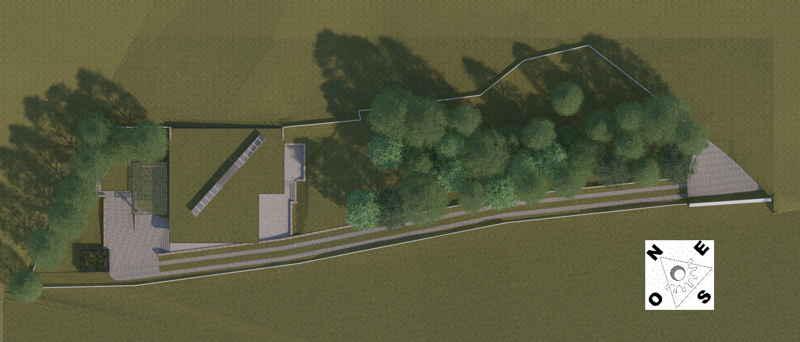 Maison passive Lacassagne, vue 3D aérienne