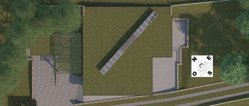 Maison passive Lacassagne, vue 3D des toitures du projet