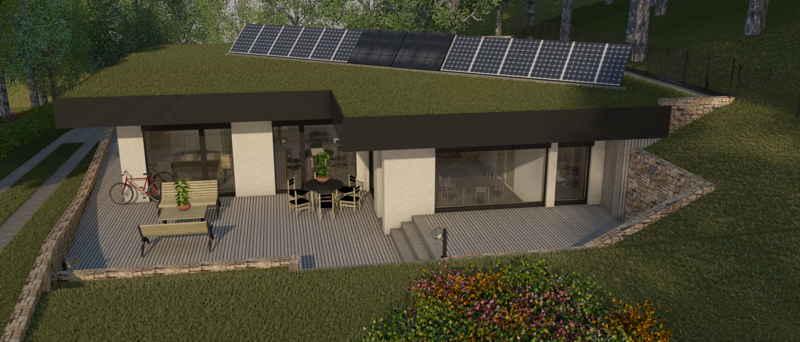 Maison passive Lacassagne, vue 3D sud-ouest
