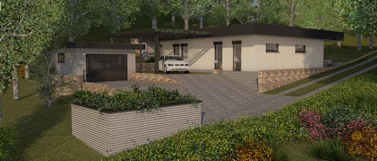 Maison passive Lacassagne, vue 3D ouest