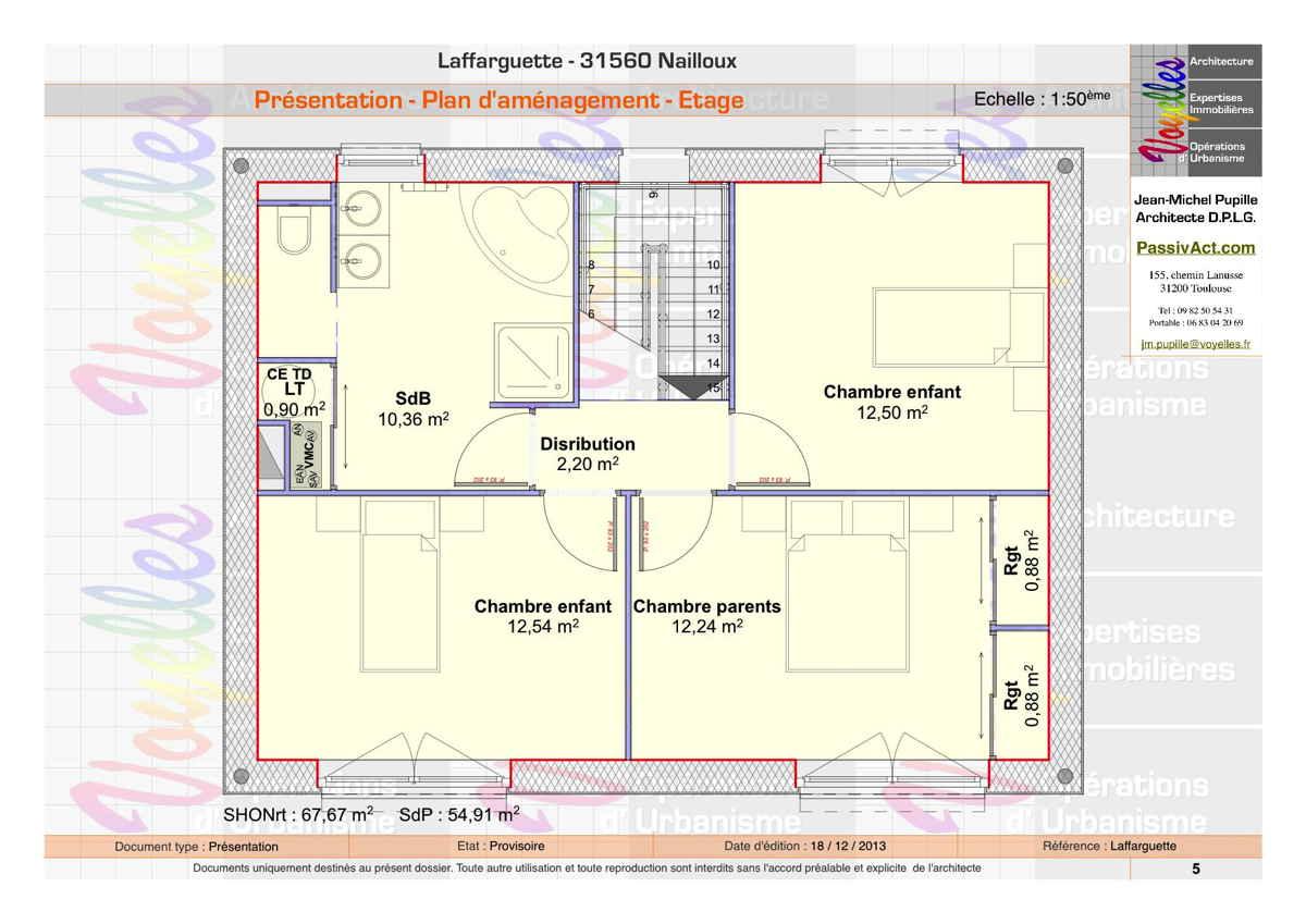 Maison passive Laffarguette, plan de l'étage