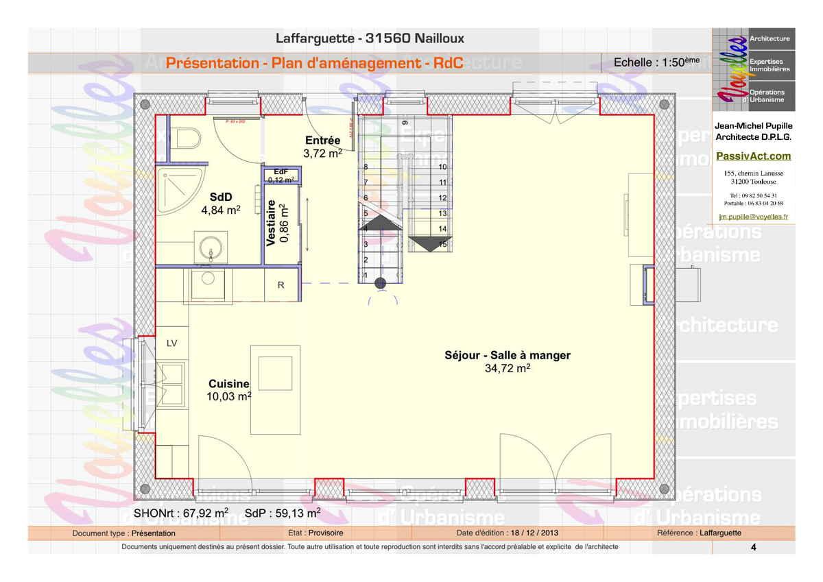 Maison passive Laffarguette, plan du Rez-de-Chaussée