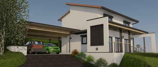 Laffarguette, vue 3D du projet de maison passive