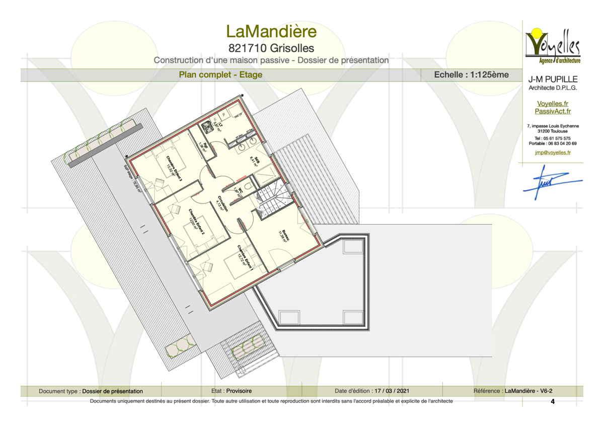 Maison passive Lamandière, plan de l'étage