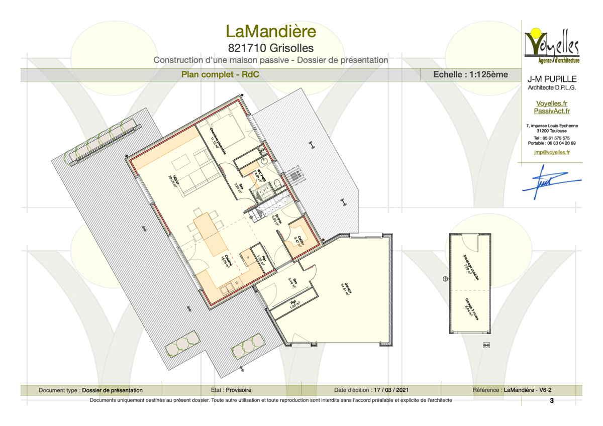 Maison passive Lamandière, plan du Rez-de-Chaussée
