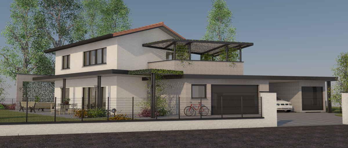 Maison passive Lamandière, vue 3D sud-est