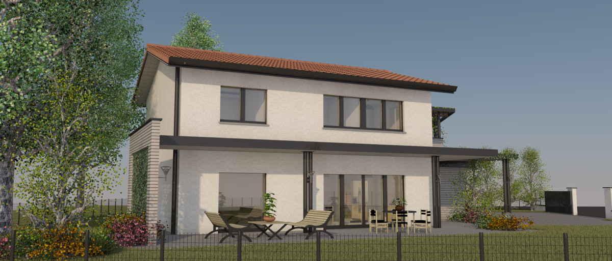 Maison passive Lamandière, vue 3D sud-ouest