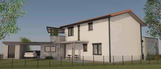 Maison passive Lamandière, vue 3D nord-ouest