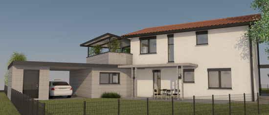 Maison passive Lamandière, vue 3D nord-est