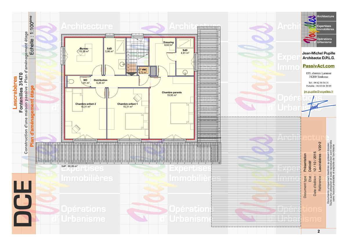 Maison passive Lascrabères, plan de l'étage