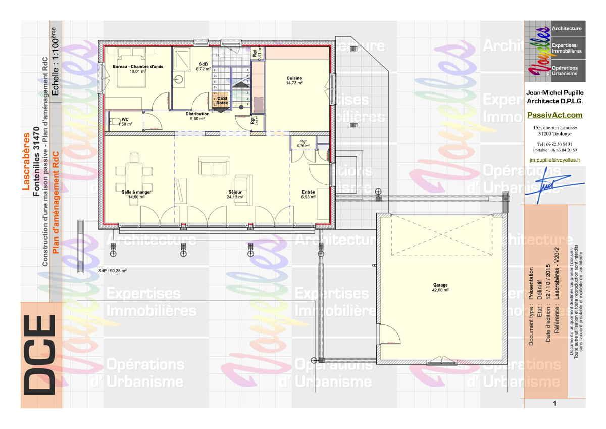 Maison passive Lascrabères, plan du Rez-de-Chaussée