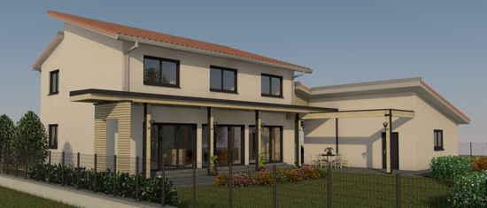 Lascrabères, vue 3D du projet de maison passive