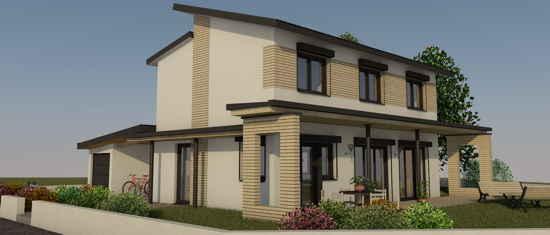LeMarquisat, vue 3D du projet de maison passive