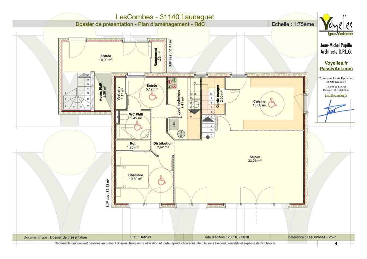 Maison passive LesCombes, plan du rez-de-chaussée