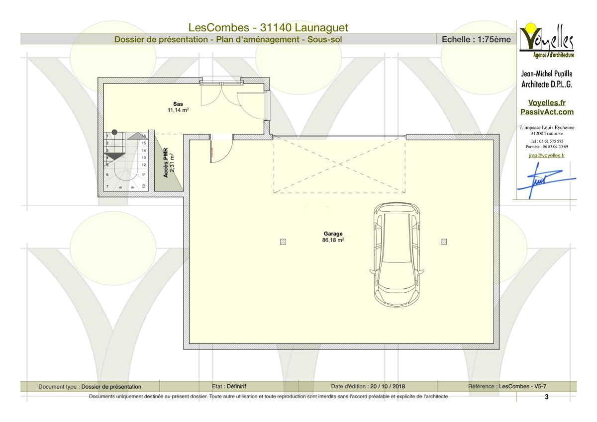 Maison passive LesCombes, plan du sous-sol
