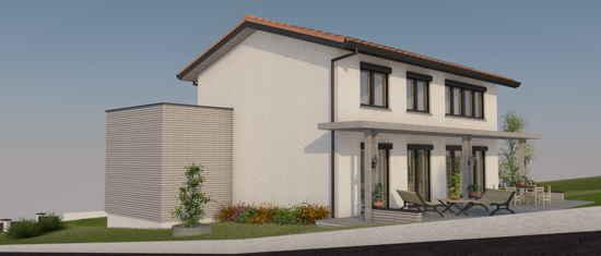 Maison passive LesCombes, vue 3D sud-ouest