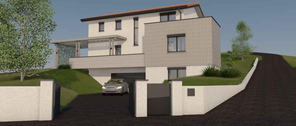 Maison passive LesCombes, vue 3D nord-ouest